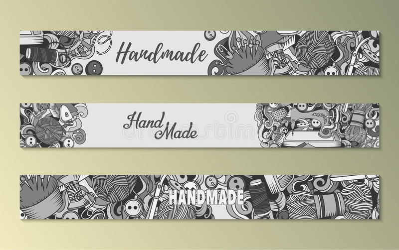 Cartoon doodles Handmade set of sketch banners. With lot objects and tools , vector illustration stock illustration
