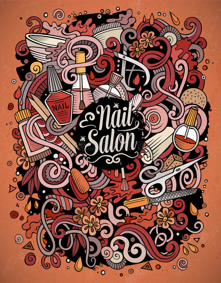 Cartoon Doodles Nail Salon Illustration Stock Vector - Illustration ...
