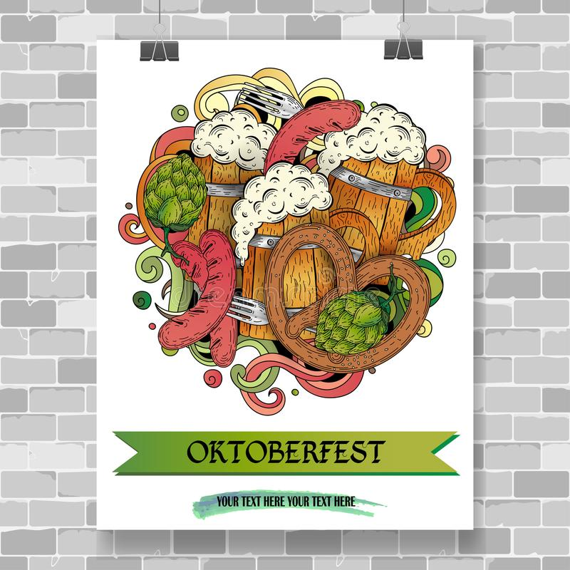 Cartoon doodles Oktoberfest poster template. Cartoon colorful hand drawn doodles Oktoberfest poster template. Detailed vector illustration with grilled sausage royalty free illustration