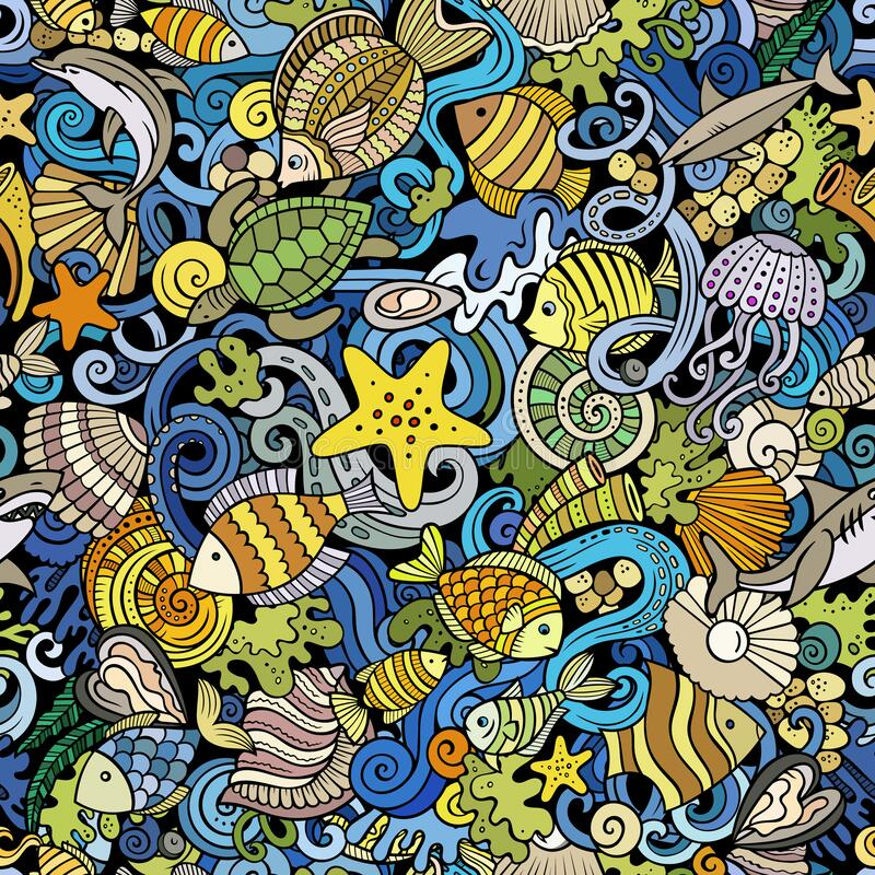 Free Cartoon Doodles Sea Life Seamless Pattern. Royalty Free Stock Images - 218500469