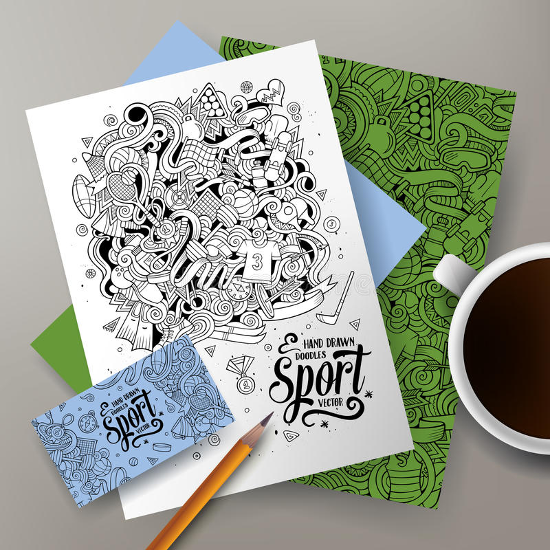 Cartoon Doodles Sport Corporate Identity Set Stock Vector ...