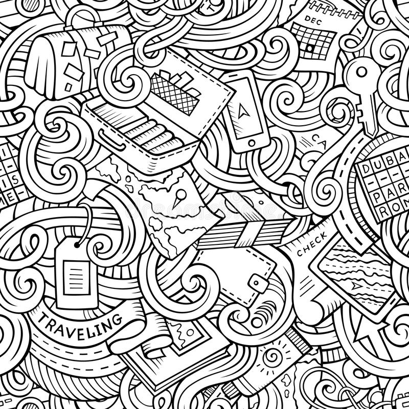Cartoon doodles travel planning seamless pattern. Cartoon cute doodles hand drawn travel planning seamless pattern. Contour detailed, with lots of objects stock illustration