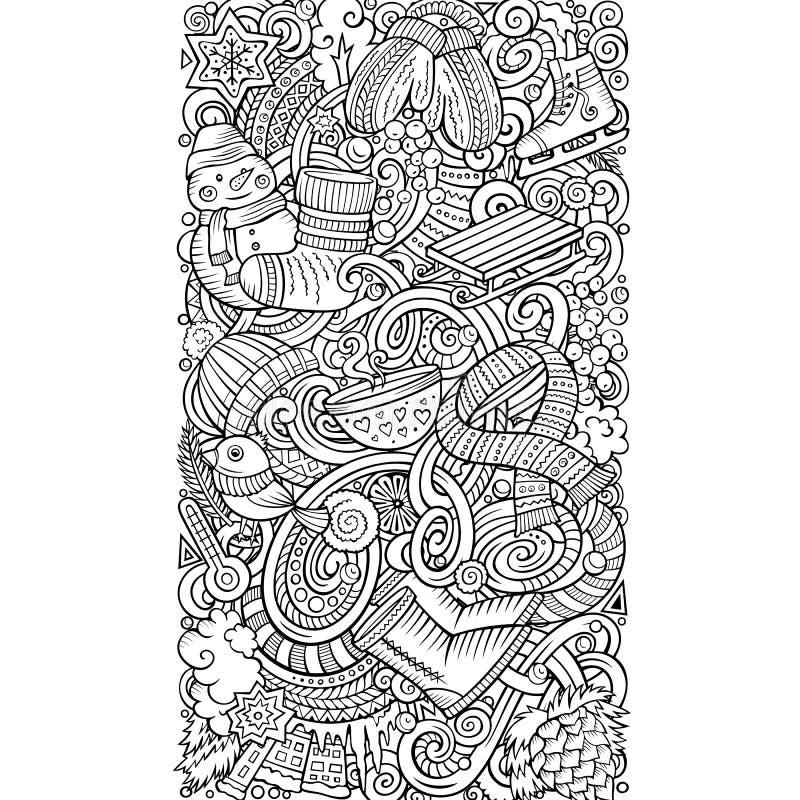 Cartoon doodles Winter vertical stripe card design. Seasonal funny border. Cartoon doodles Winter vertical stripe card design. Line art detailed, with lots of royalty free illustration