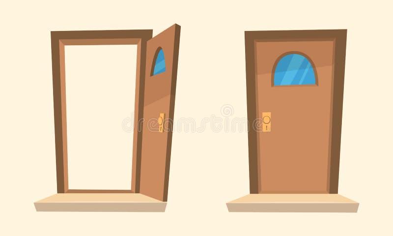 Open And Closed Doors : The cartoon doors stock vector illustration of open