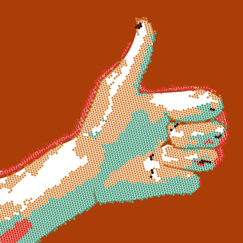 Cartoon dotted hand thumbs up. EPS10 vector buisness success like illustration.  vector illustration