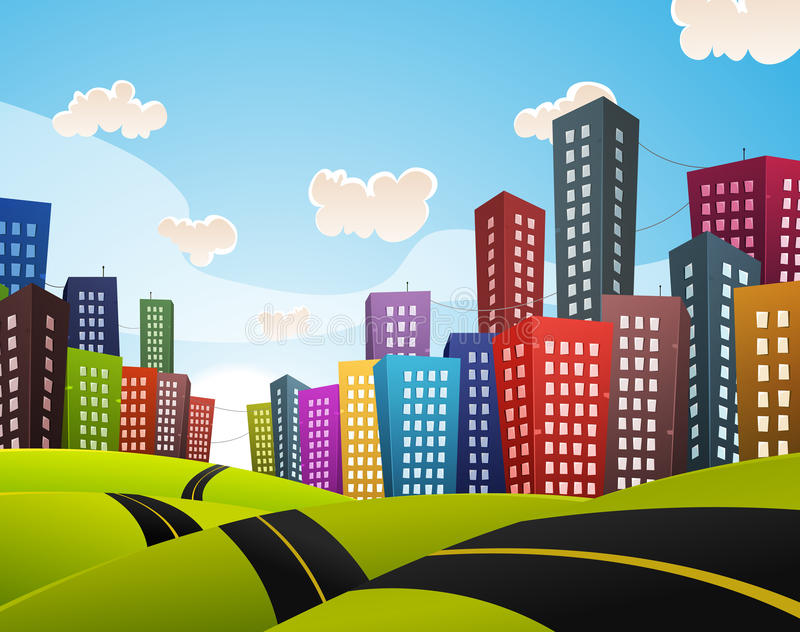 Cartoon Downtown Road Landscape stock illustration