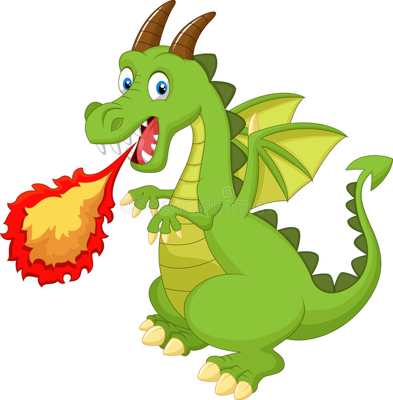 Cartoon dragon with fire royalty free illustration