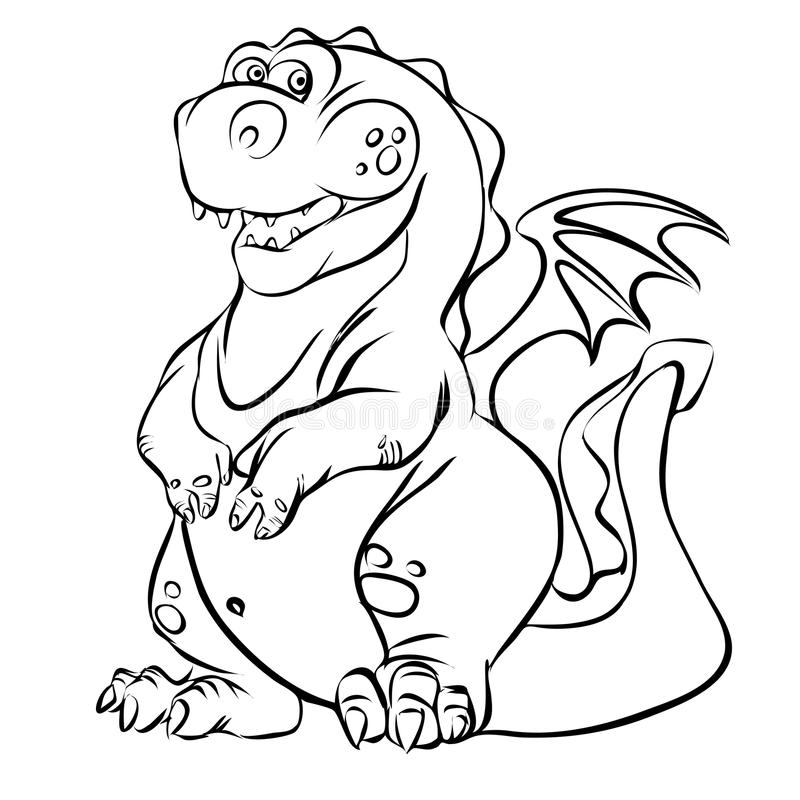 Cartoon dragon line art illustration royalty free stock image