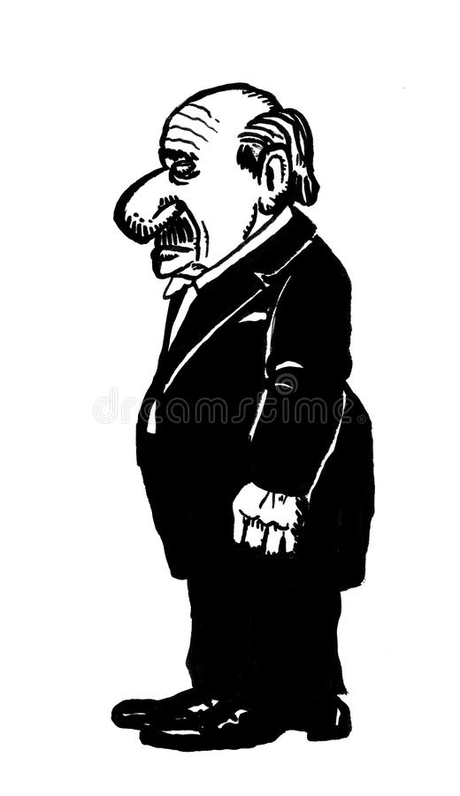 Cartoon drawing of a butler vector illustration