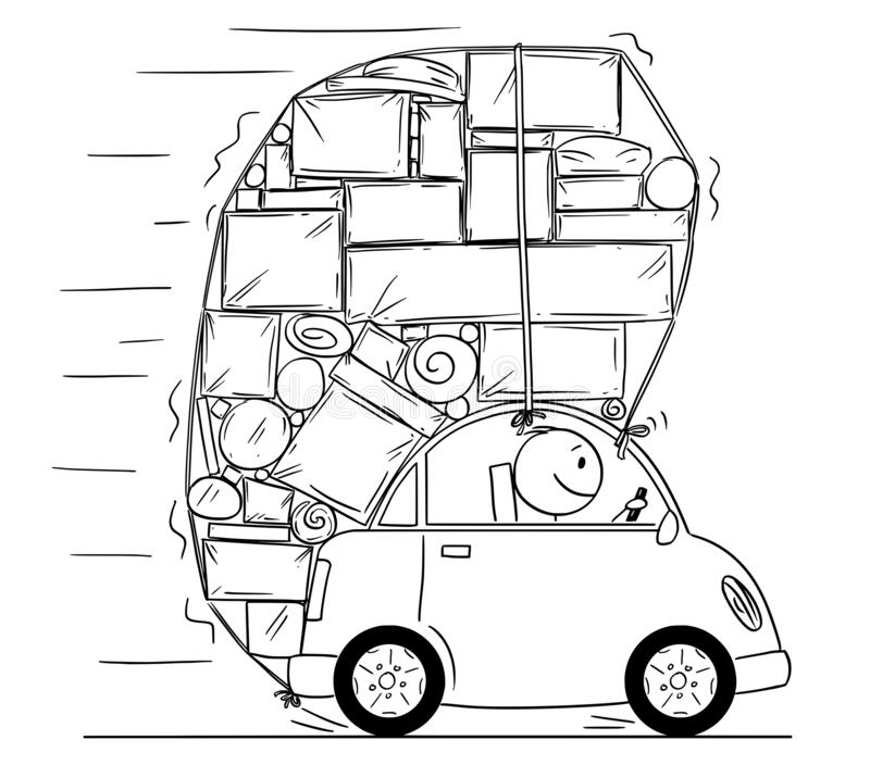 Cartoon Drawing of Car Overloaded by Boxes and Another Objects royalty free illustration