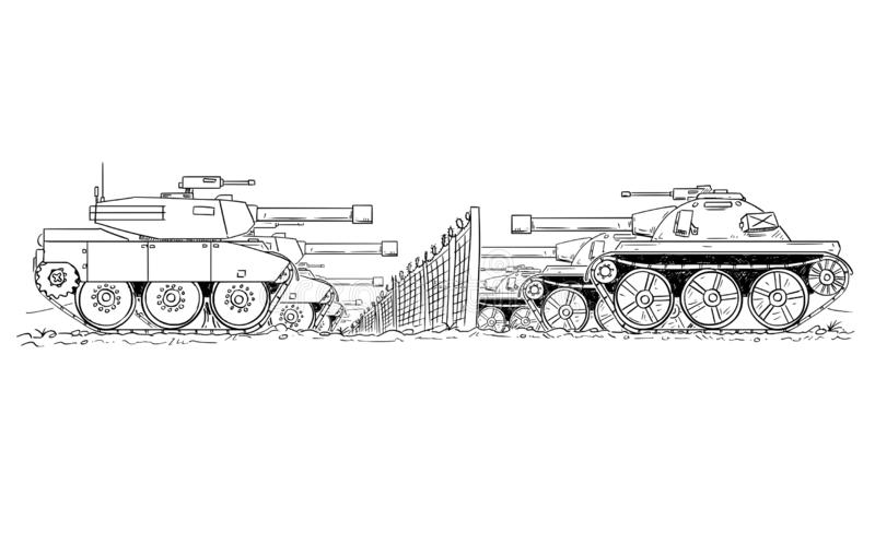 Cartoon Drawing of Group of Enemy Tanks Defending on Border Line. Cartoon drawing conceptual illustration of group of enemy tanks defending on against each other royalty free illustration