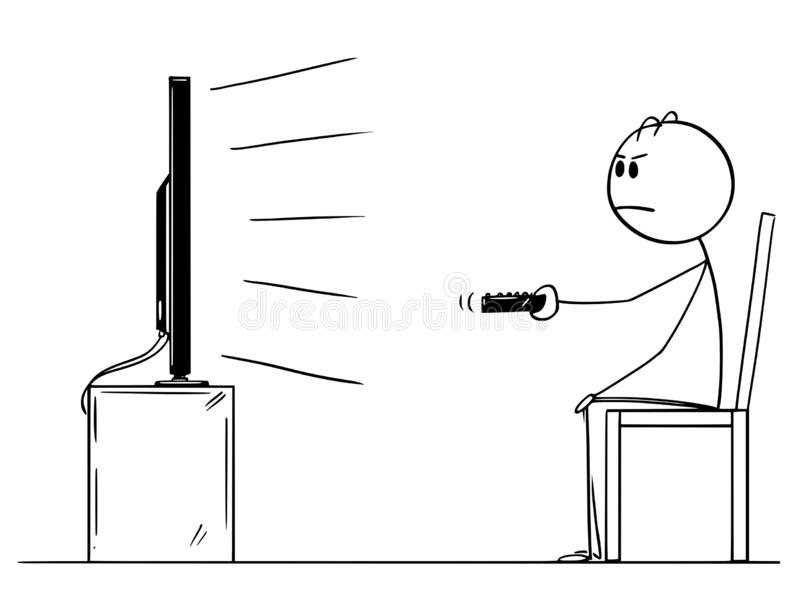 Cartoon Drawing of Man Sitting on Chair and Watching TV or Television vector illustration