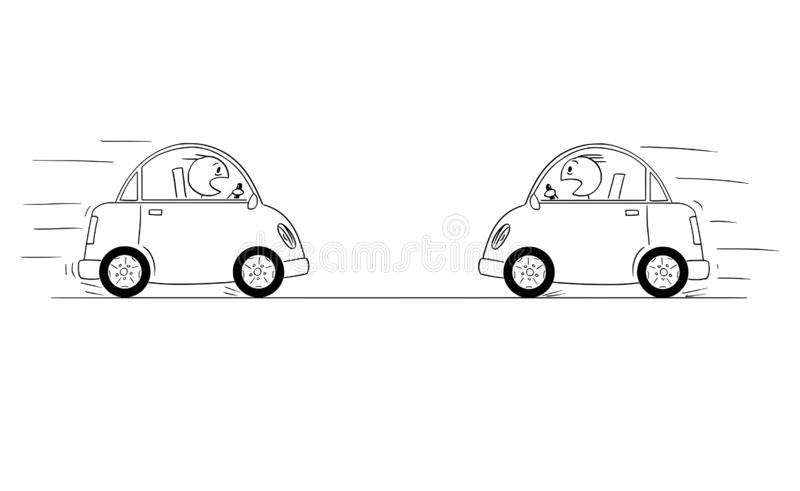 Cartoon Drawing od Two Cars Driving Against Each Other Just Moments Before Head-on Collision Crash Accident royalty free illustration