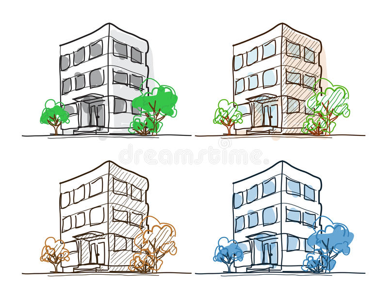 Cartoon Drawing Outline Vector Buildings Doodle Stock Vector - Illustration Of Pencil Concept ...
