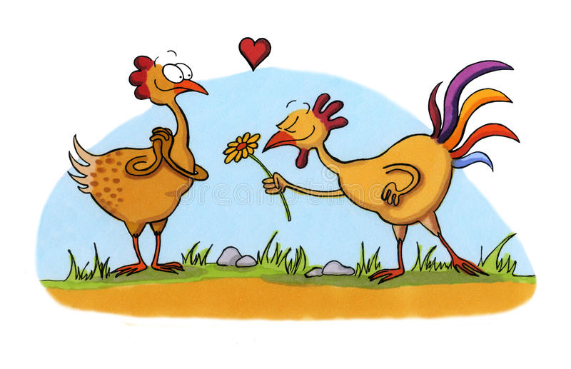 Cartoon drawing of two chicken in love stock illustration
