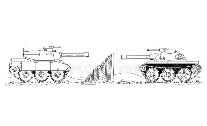 Cartoon Drawing of Two Enemy Tanks Defending on Border Line. Cartoon drawing conceptual illustration of two enemy tanks defending on against each other on border royalty free illustration