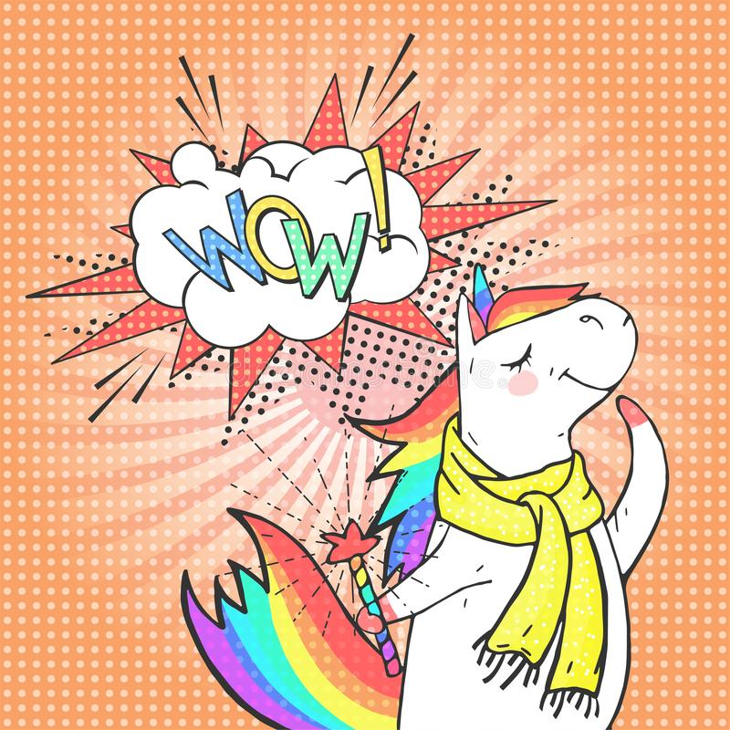 Cartoon dreaming unicorn and speech bubble with text WOW! Poster, greeting card or invitation in comic style. Vector pop art background royalty free illustration