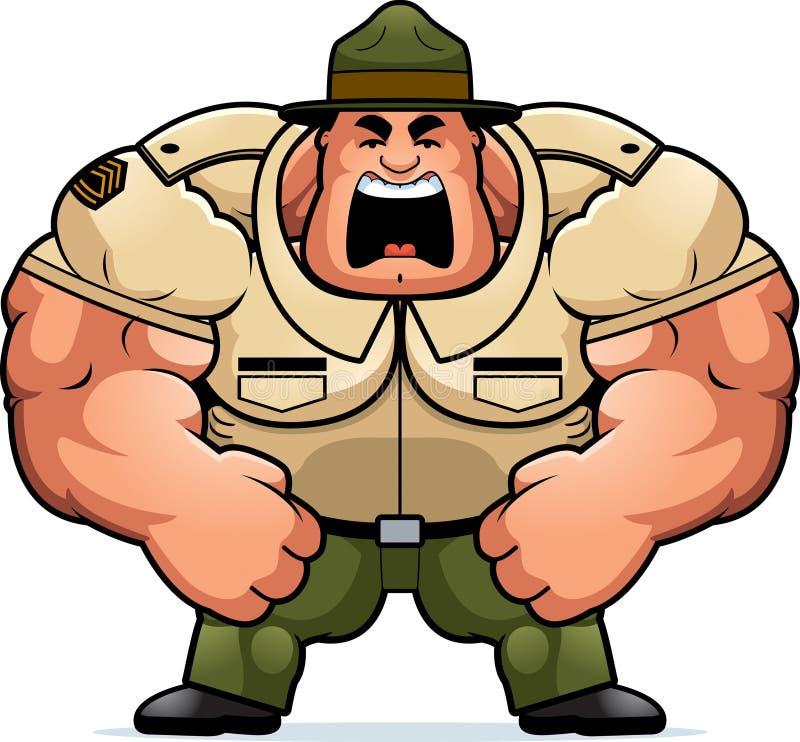 Cartoon Drill Sergeant Yelling. A cartoon illustration of a muscular drill sergeant yelling vector illustration