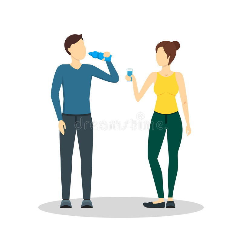 Cartoon Drinking Water Man and Woman. Vector royalty free illustration