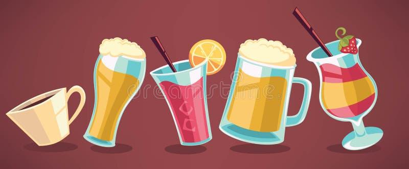 Cartoon drinks vector illustration