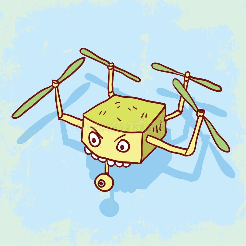Cartoon drone illustration, vector icon. royalty free illustration