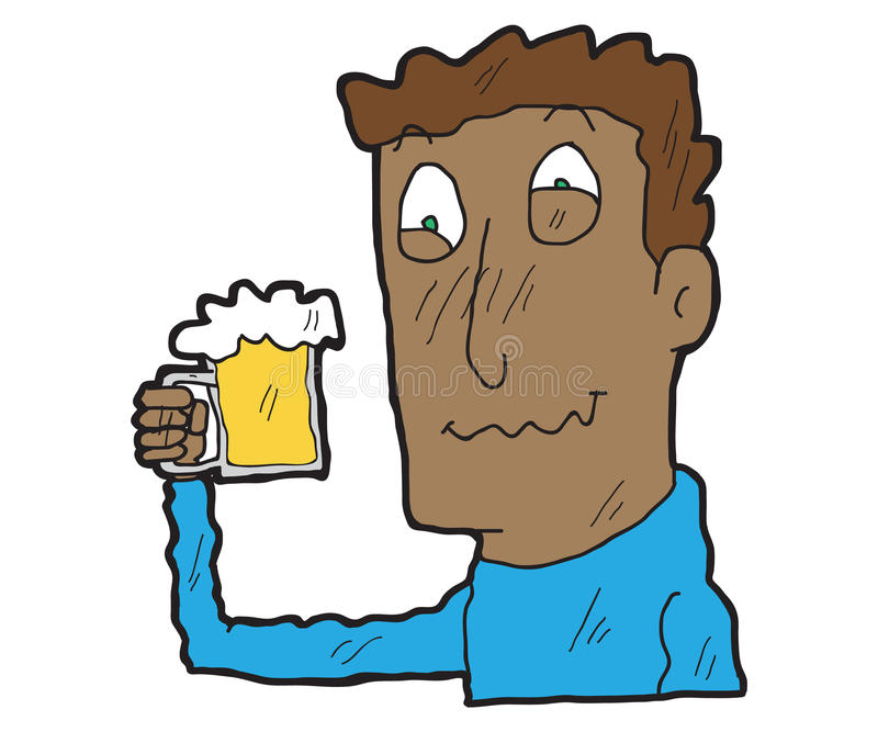 Cartoon drunk men with beer glass royalty free illustration