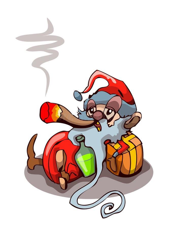 Cartoon Drunk Stoned Santa Claus Smoking. Cartoon Drunk Stoned Santa Claus Smoking in a Wasted State, Vector Illustration on White Background vector illustration