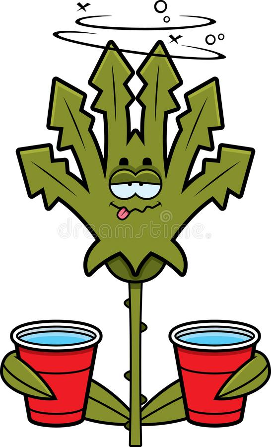 Cartoon Drunk Weed vector illustration