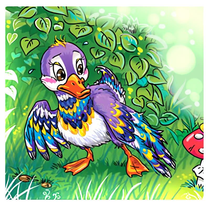 Cartoon duck in a green summer forest vector illustration