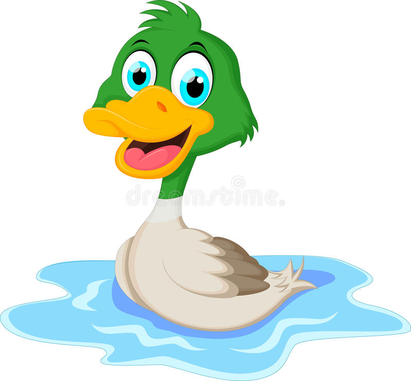 Cartoon ducks floats on water. Illustration of Cartoon ducks floats on water royalty free illustration