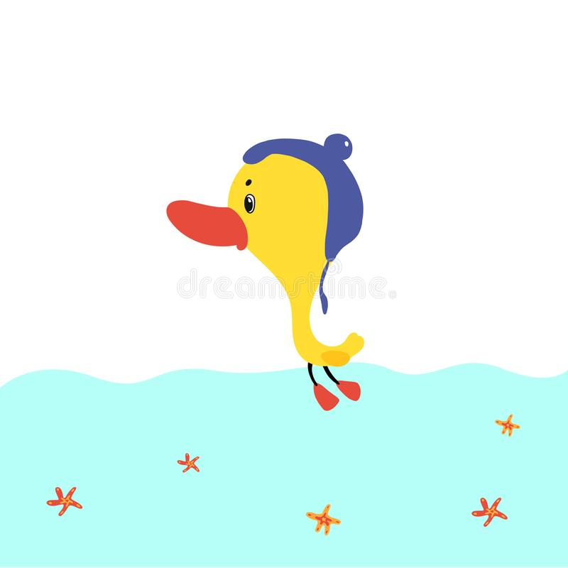 Cartoon ducks floats on water. vector illustration hand drawn style. Cartoon ducks floats on water. vector illustration hand drawn style vector illustration