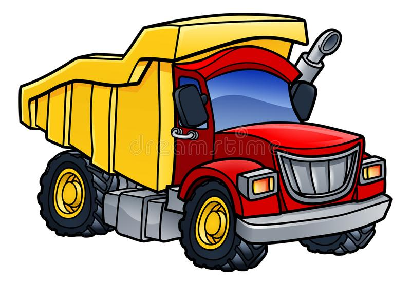 Dump Truck Tipper Cartoon. Cartoon dump tipper truck lorry construction vehicle illustration stock illustration