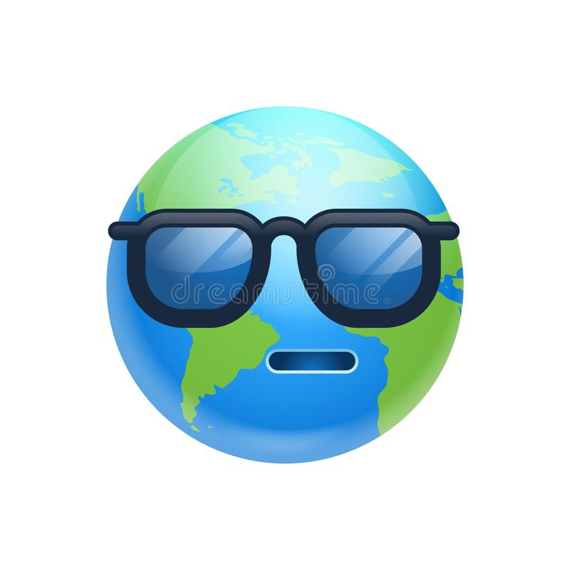 Cartoon Earth Face Sad Emotion Icon Funny Planet In Sun Glasses Expression Isolated stock illustration