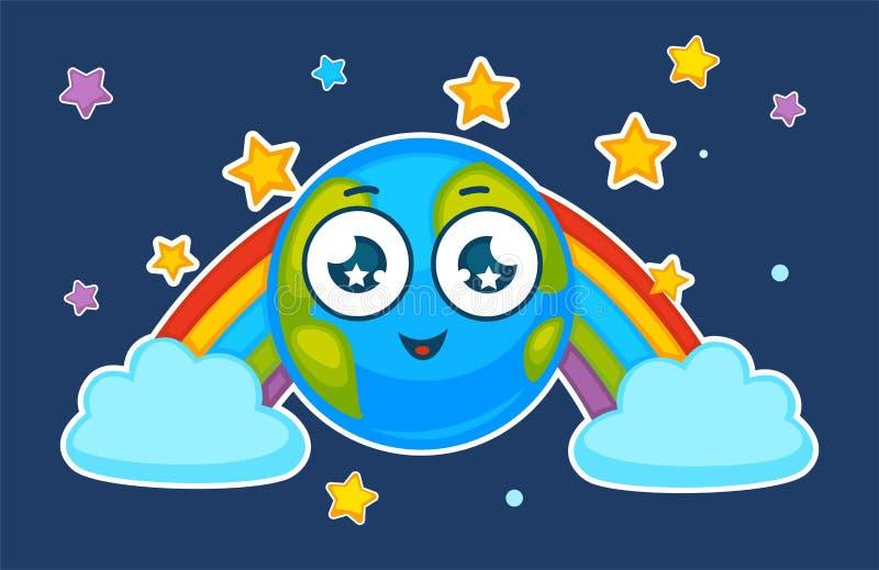 Cartoon earth planet smiling in vector rainbow stock illustration