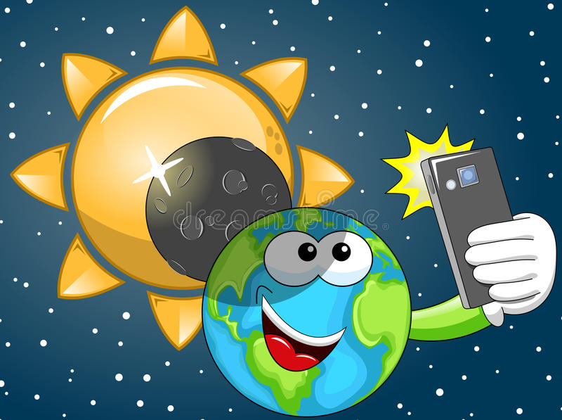 Cartoon Earth selfie solar eclipse. Cartoon Earth taking selfie at solar eclipse stock illustration