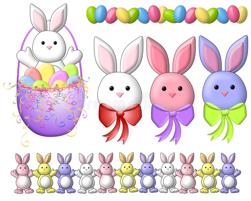 Cartoon Easter Bunnies Clip Art 2 stock illustration
