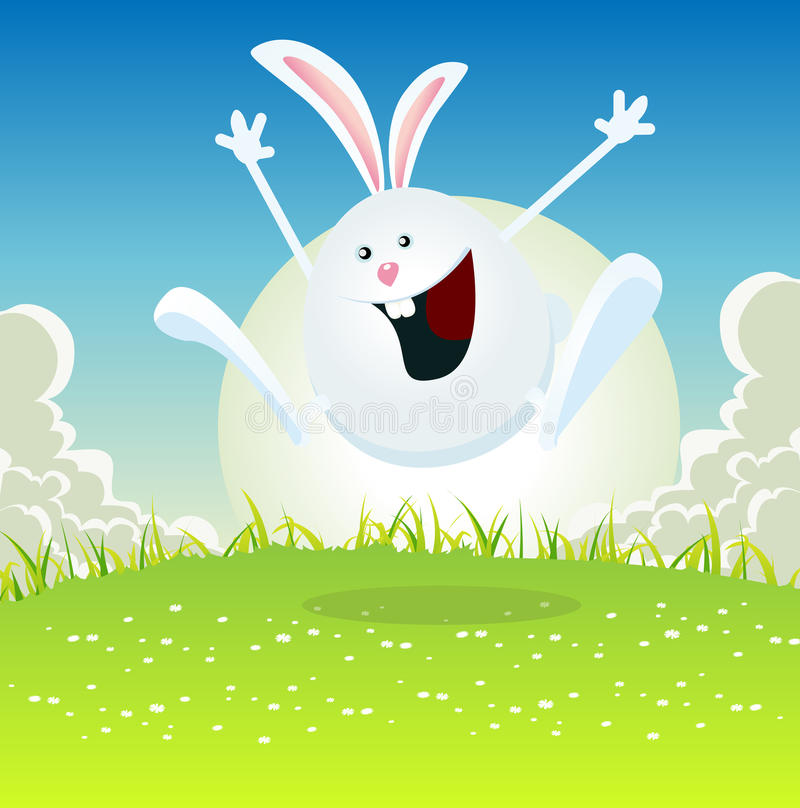 Cartoon Easter Bunny. Illustration of a cartoon happy easter bunny jumping in the grass for spring holidays