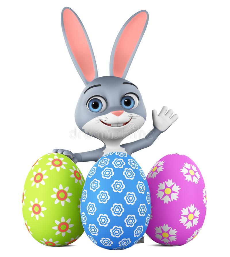 Cartoon Easter bunny character with a raised hand as a greeting sign on a white background.Three Easter eggs. 3d rendering stock illustration