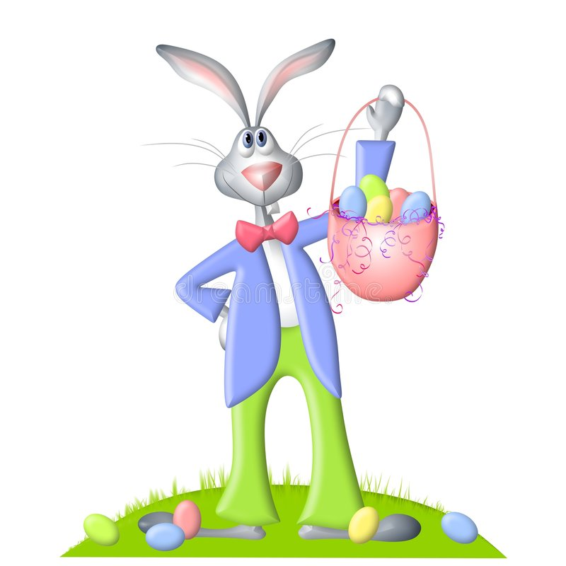 Cartoon Easter Bunny And Egg Basket. An illustration featuring a cartoonish looking Easter bunny rabbit standing dressed in jacket, bowtie and pants, and holding royalty free illustration