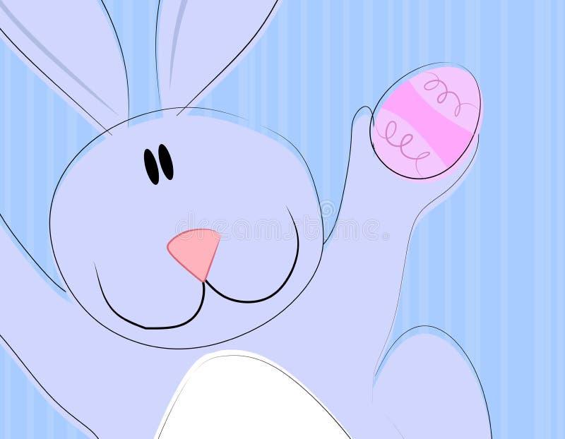 Cartoon Easter Bunny Holding Egg 2. A clip art illustration featuring an Easter Bunny Rabbit closeup holding an egg in blue colors stock illustration