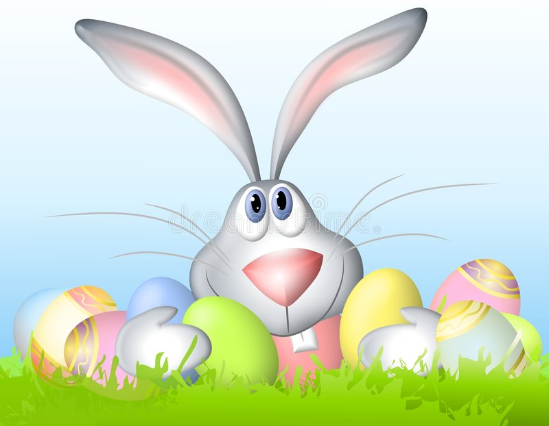 Cartoon Easter Bunny Holding Eggs. A clip art illustration of a cartoonish looking Easter bunny sitting in the grass with a bunch of decorated Easter eggs stock illustration