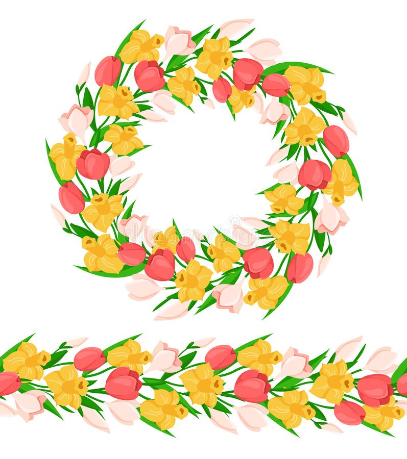 Daffodil Border stock illustration. Illustration of jonquil - 8023796