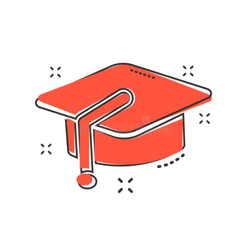 Cartoon education hat icon in comic style. Bachelor cap illustration pictogram. Education sign splash business concept. stock illustration