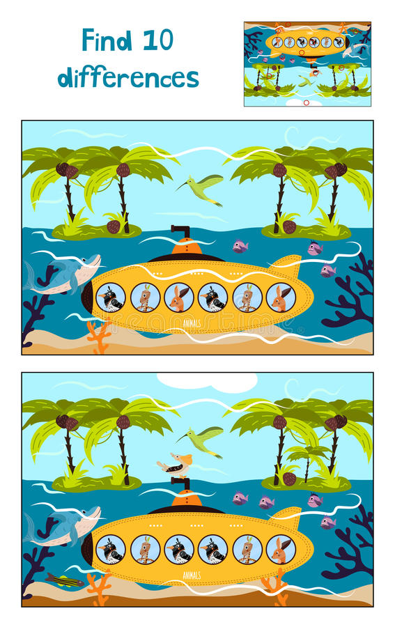 Cartoon of Education to find 10 differences in children's pictures underwater stock illustration