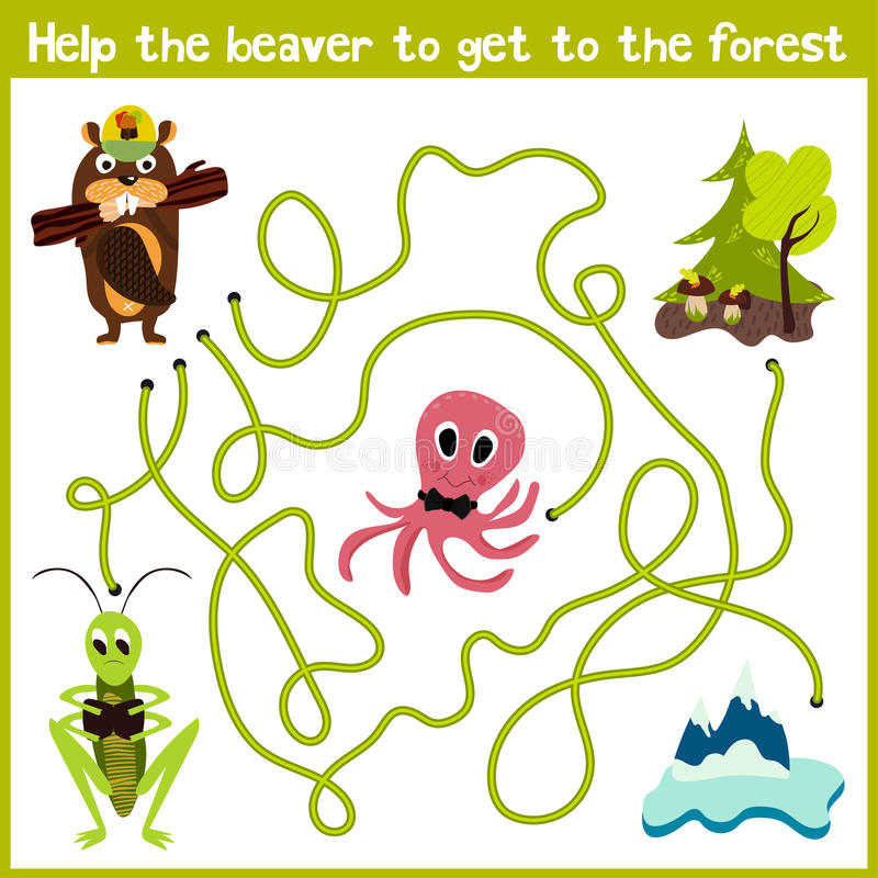 Cartoon of Education will continue the logical way home of colourful animals. Help the beaver to get home in the wild forest. Matc. Hing Game for Preschool vector illustration