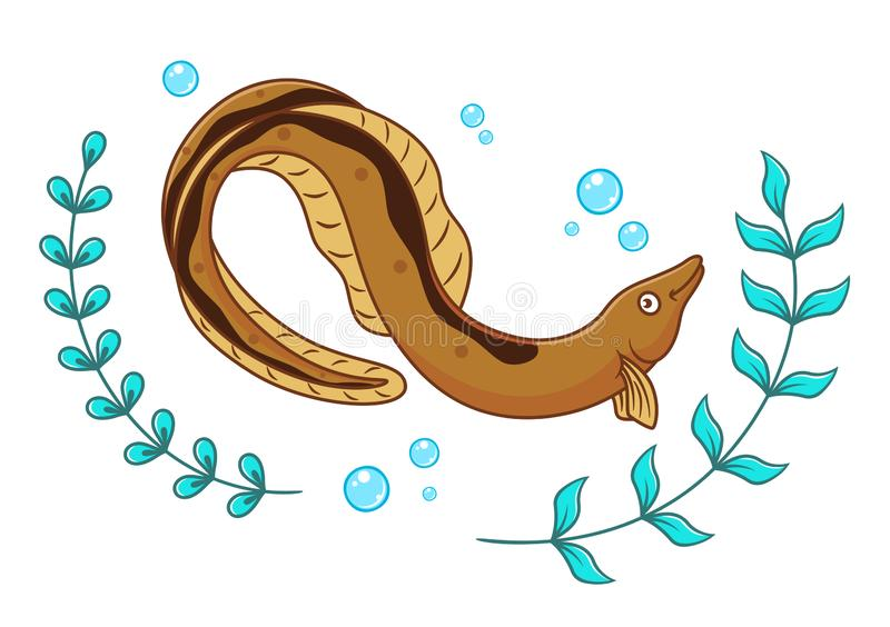 Cartoon eel and seaweed. With air bubbles isolated on white background royalty free illustration