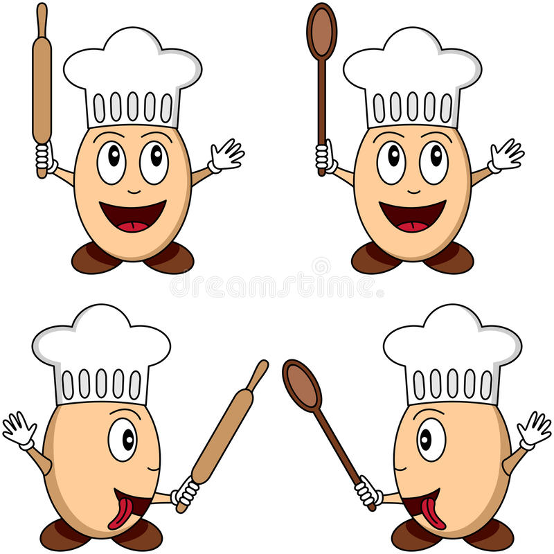 Download Cartoon Egg Chef Characters Stock Vector - Illustration of food, chef: 9483299