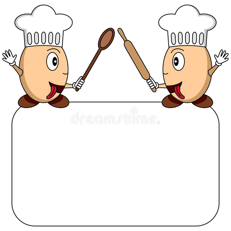 Two Funny Cartoon Egg Chefs With A Blank Banner Isolated On White Background Useful Also For Restaurant Logo Menu Or Recipe Eps File Available