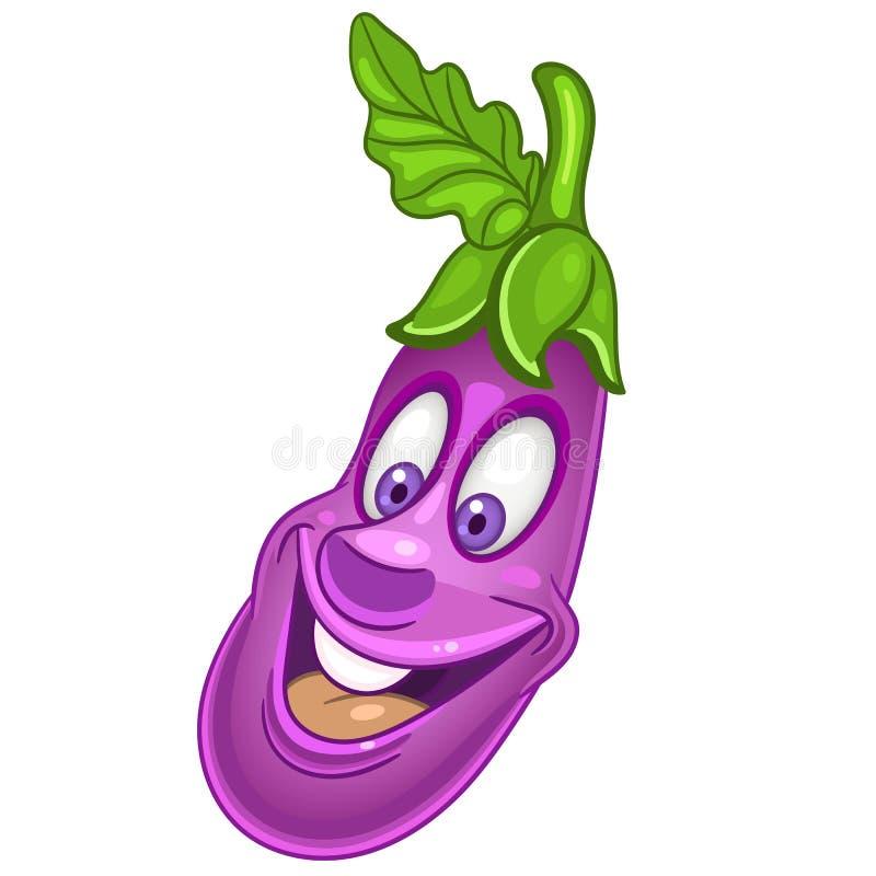 Cartoon Eggplant character royalty free stock photography