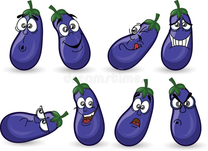 Cartoon eggplants with emotions,vector. Illustration picture royalty free illustration